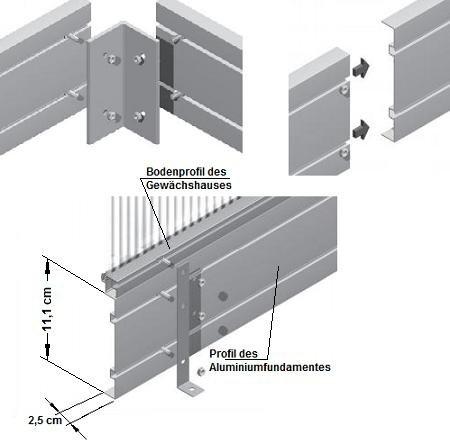 aluminium fundament f r gew chshaus typ f4 gew chshaus tests. Black Bedroom Furniture Sets. Home Design Ideas